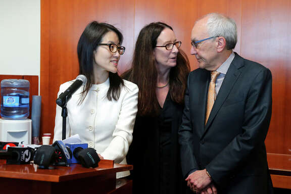 Ellen Pao speaks to reporters after the verdict in March, accompanied by lawyers Therese Lawless and Alan Axelrod in San Francisco.