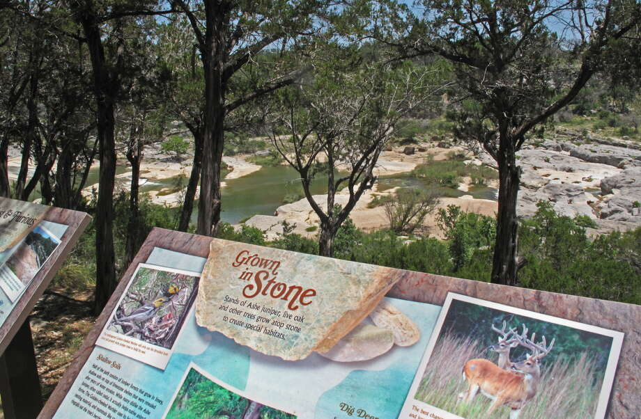 Texas wins in signage, from roadways to habitat, such as this interpretative display at the overlook at Pedernales Falls State Park. Photo: Photos By John Goodspeed / For The Express-News