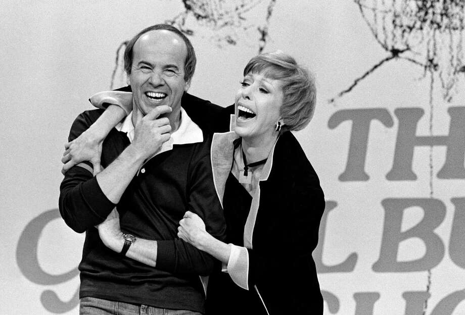 Carol Burnett shares a laugh with Tim Conway during the 1978 taping of her final show. Photo: George Brich, STF / AP