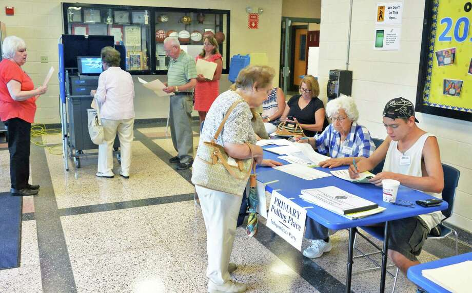 Voters cast ballots in Thursday's primary at Cohoes Middle School Sept. 10, 2015 in Cohoes, NY.  (John Carl D'Annibale / Times Union) Photo: John Carl D'Annibale / 00033299A