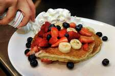 "This dish of pancakes, called the ""The Patriotic,"" is on the menu at Chip's, a family-run restaurant chain, opened up recently in Southbury. Photo Monday, August 31, 2015."