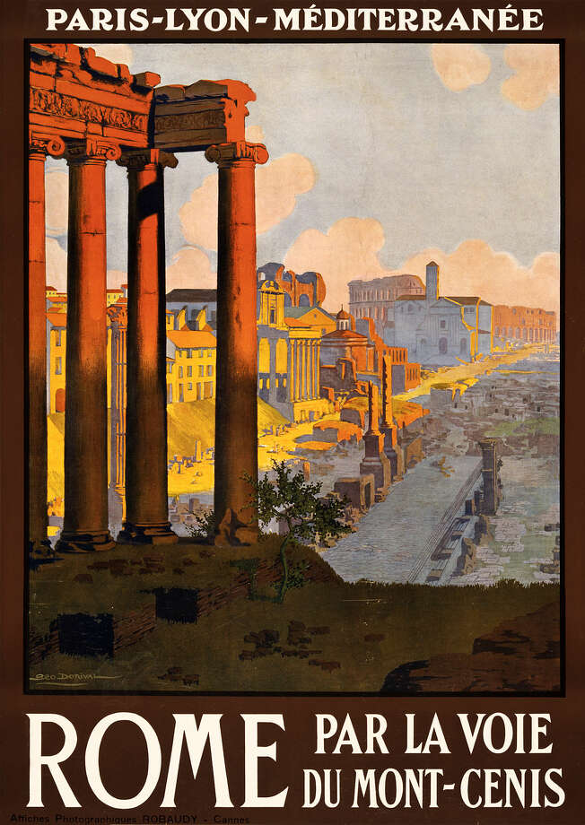 A 1920 poster showing the Roman Forum at dawn. Photo: Wikimedia Commons