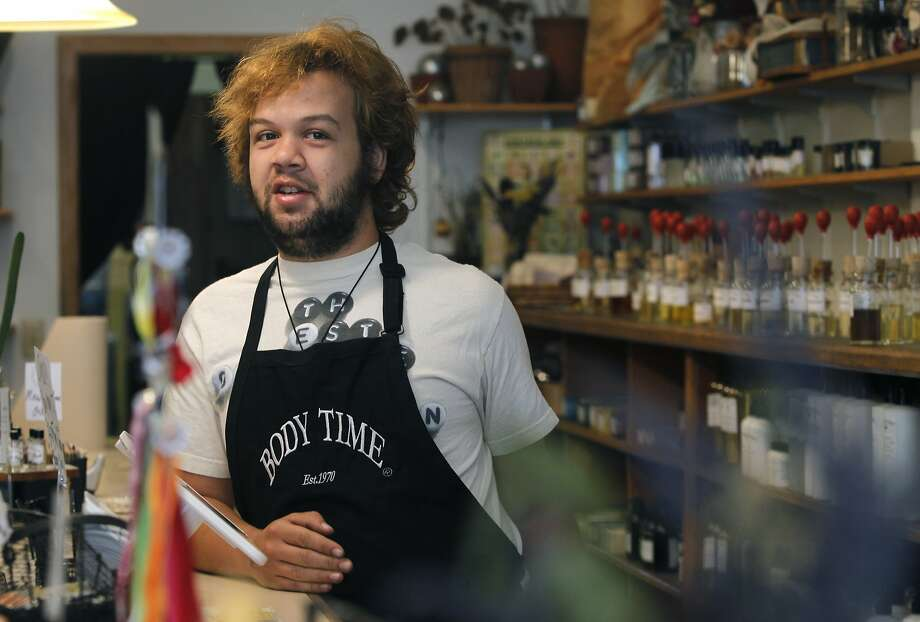 Store clerk Matt Smith works at the Body Time store in San Anselmo, Calif. on Thursday, Sept. 10, 2015. Smith says he was a 13-year-old the last time San Anselmo Creek crested well above the 13-foot flood in 1982. National weather forecasters are predicting significant El Nino conditions this winter. Photo: Paul Chinn, The Chronicle