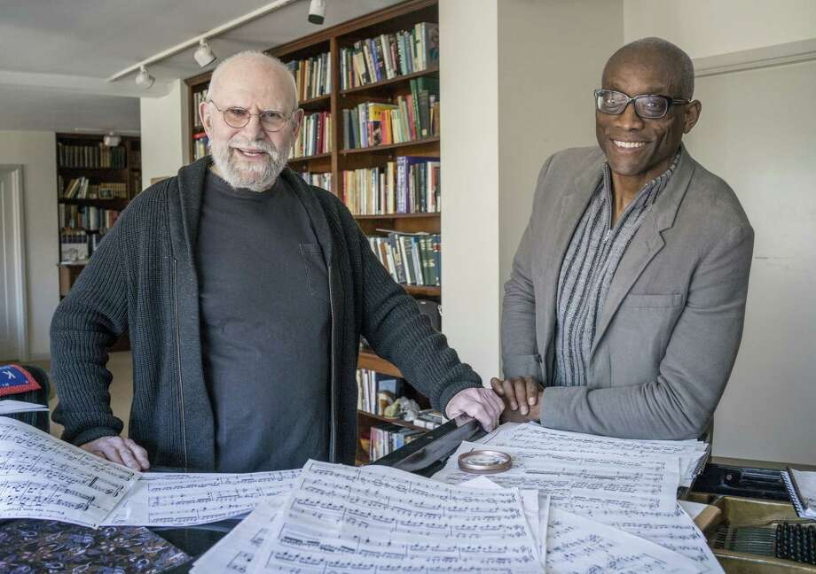 FILE -- Dr. Oliver Sacks, left, with the choreographer Bill T. Jones at Sacks' apartment in New York on April 3, 2013. Jones mounted an arts festival based on Sacks' work.  Sacks, who explored some of the brainOs strangest pathways in best-selling case histories like OThe Man Who Mistook His Wife for a Hat,O achieving a level of renown rare among scientists, died on Aug. 30, 2015, at his home in New York City. He was 82. (Fred R. Conrad/The New York Times)  ORG XMIT: MER2015090911385291 Photo: FRED R. CONRAD / NYTNS
