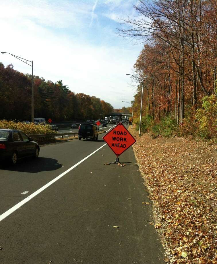 File photo of a roadwork sign. Photo: Tom Mellana / Greenwich Time / Greenwich Time