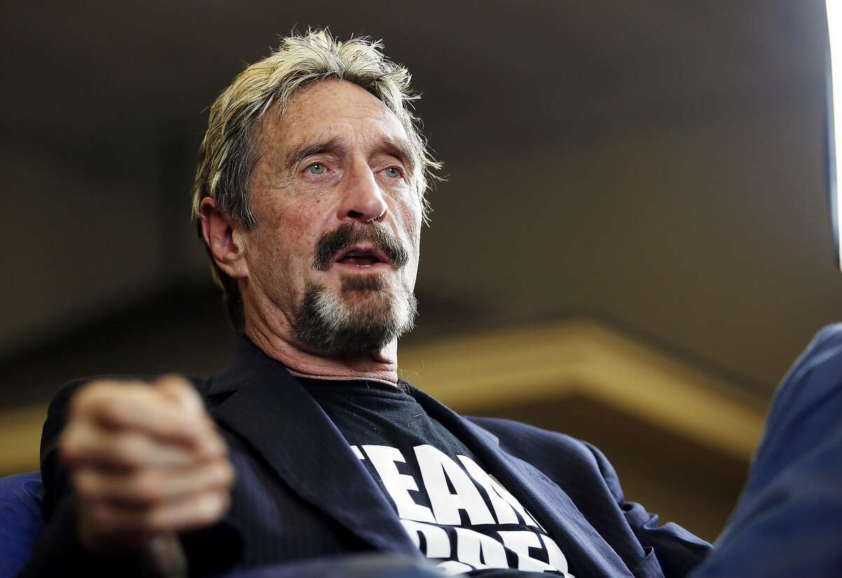 John McAfee, who made a fortune developing antivirus software, revealed on Twitter that he is always armed to the teeth, even in bed.