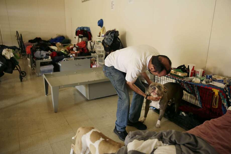 Enrique Gonzalez, pats his dog, Hops, at the Navigation Center  on Thursday, September 10, 2015 in San Francisco, Calif. Gonzalez said he became homeless when he was evicted from his residence in April. Photo: Lea Suzuki, The Chronicle
