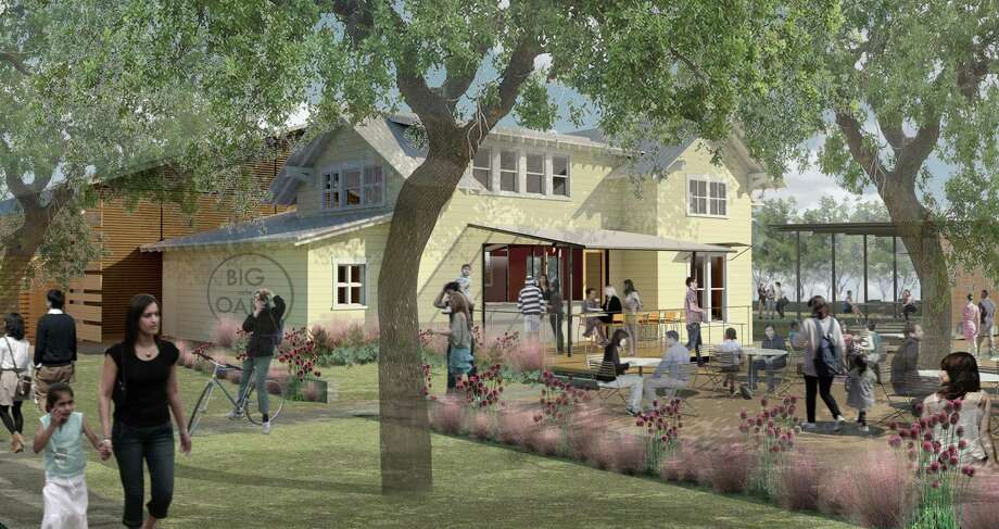 An artist rendering of a proposed cafe restaurant project at Evelyn's Park in Bellaire. Jamie and Dalia Zelko of Zelko concepts (Zelko Bistro, The Heights HoneyBee Project) will oversee the new cafe at Evelyn's Park. The park project, under construction, is scheduled to open summer of 2016. Photo: Evelyn's Park Conservancy