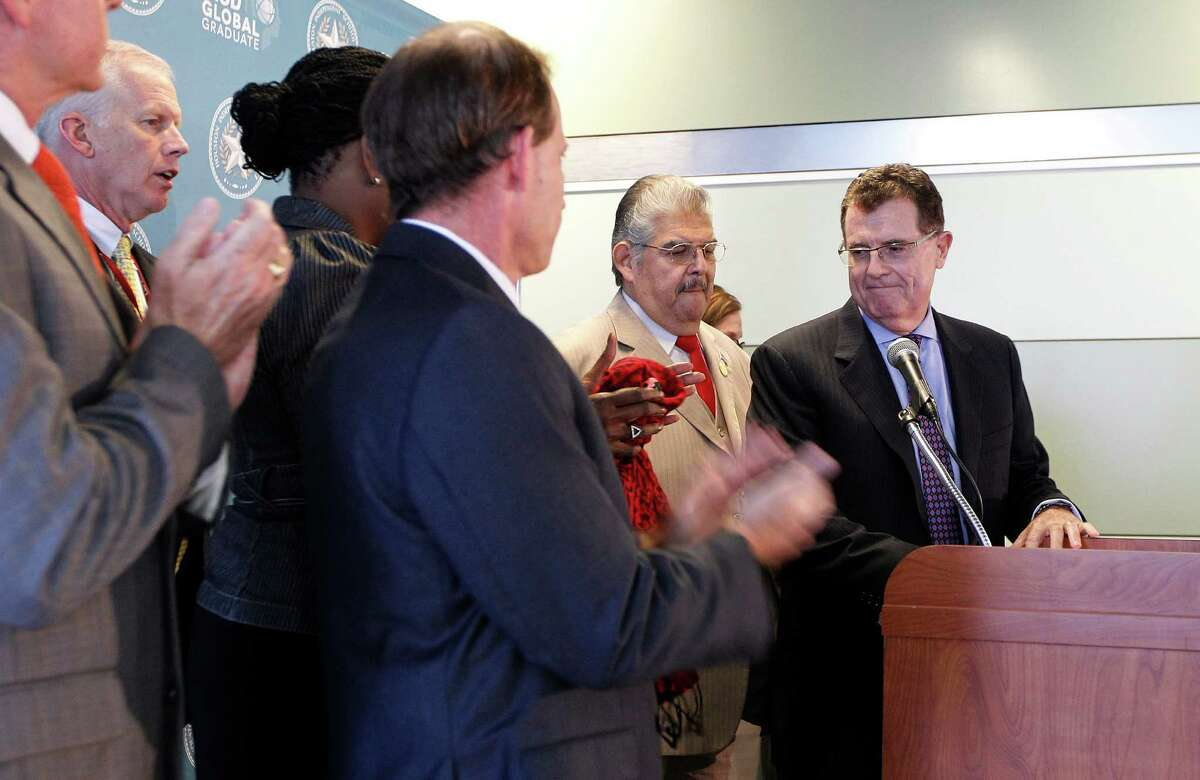 """Houston ISD Superintendent Terry Grier announced Thursday, Sept. 10, 2015, in Houston that he is stepping down effective on March 1. Grier became superintendent of Houston in 2009, leading the nation's seventh largest school district to win the Broad Prize for Urban Education in 2013. """"You can't be school superintendent in Houston forever,"""" Grier said, citing his age and recent knee replacement. """"It's just time and that's it in a nutshell."""""""