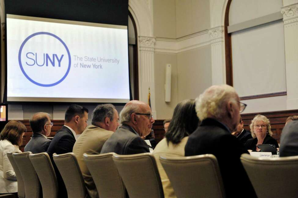 Members of the SUNY Board of Trustees take part in a meeting on Thursday, Sept. 10, 2015, in Albany, N.Y. (Paul Buckowski / Times Union)