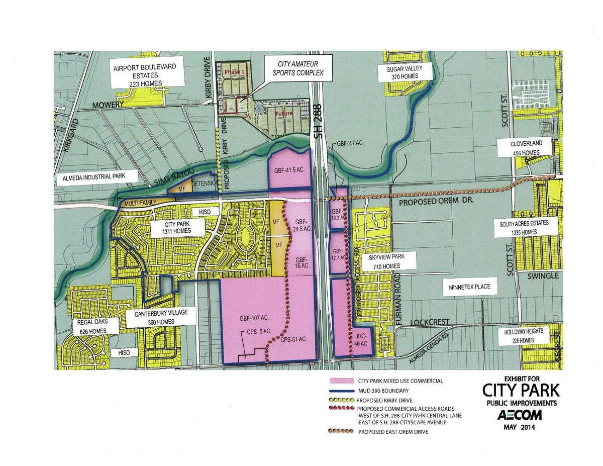 Map of City Park and public improvements