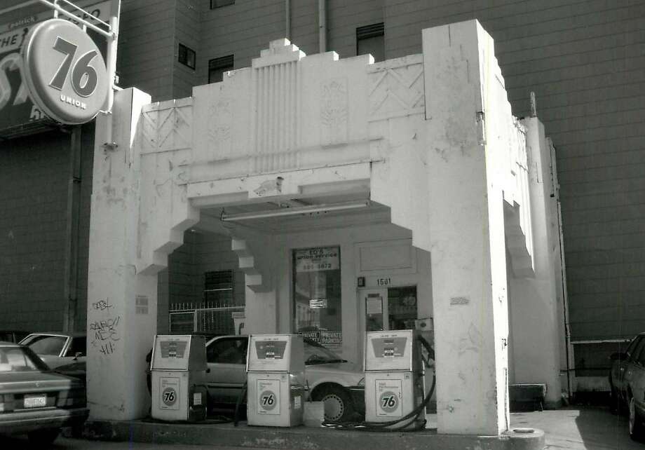 Built in 1931, the gas station did business on Nob Hill at Pacific and Larkin streets. Photo: Kevin Levine, Courtesy S.F. Heritage
