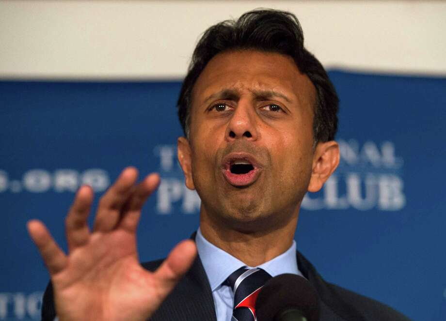 "Republican presidential candidate, Louisiana Gov. Bobby Jindal speaks at the National Press Club in Washington, Thursday, Sept. 10, 2015. Jindal said GOP front-runner Donald Trump is an ""egomaniacal madman who has no principles"" and who risks costing the party its chance to regain the White House.  (AP Photo/Molly Riley) Photo: Molly Riley, FRE / FR170882 AP"