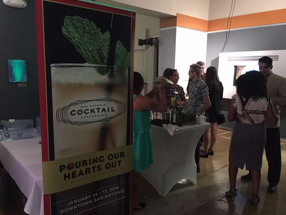 The scene at the unveiling event for the 2016 San Antonio Cocktail Conference signature cocktail: the Beso (Kiss) de Agave. (Emily Spicer / San Antonio Express-News)