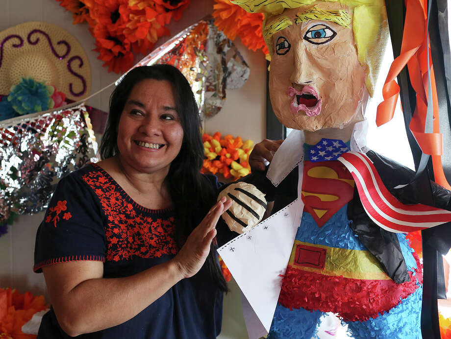 "A ""Super Donald"" piñata made by Marylou Hernandez, owner of The Cascaron Store, who is known for her artistic Fiesta cascarones. Photo: JERRY LARA /San Antonio Express-News / © 2015 San Antonio Express-News"