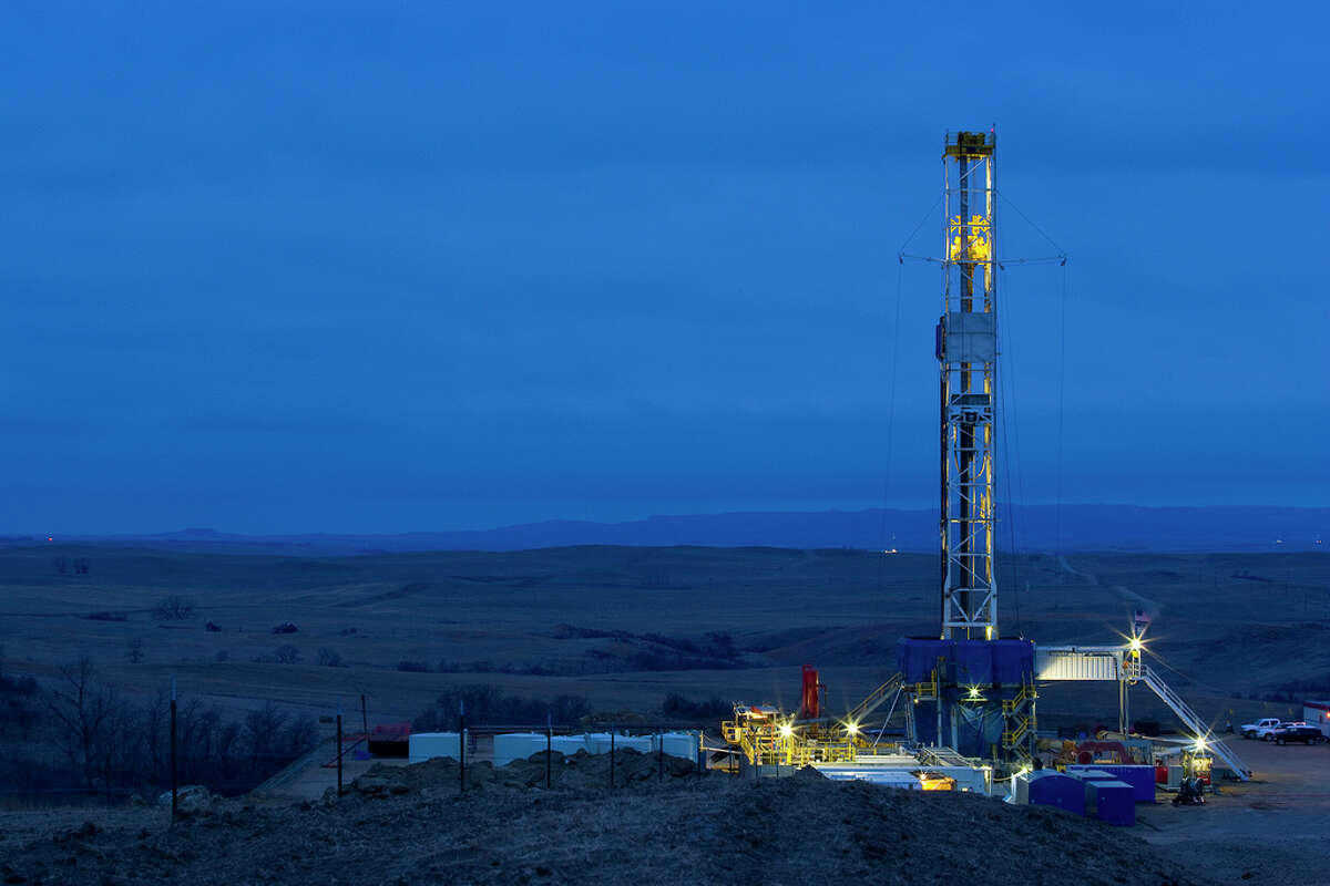Oil inventories are rising despite declining production in shale plays, including North Dakota's Bakken where this rig worked.. (Marathon Oil Corp. photo)