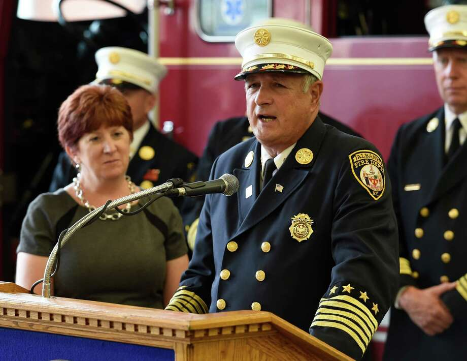 Albany Fire Department Chief Warren Abriel Jr. speaks after Mayor Kathy Sheehan announced the receipt of a FEMA grant, Thursday morning Sept. 10, 2015, that will employ 15 new firefighters in Albany, N.Y.   (Skip Dickstein/Times Union) Photo: SKIP DICKSTEIN / 00033319A