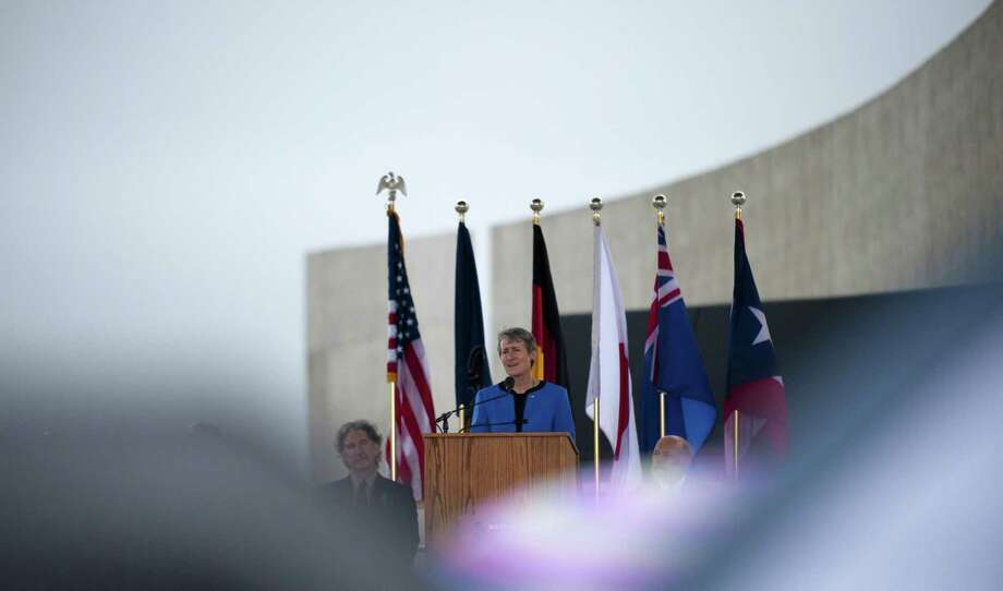 SHANKSVILLE, PA- SEPTEMBER 10: US Interior Secretary Sally Jewell speaks at the visitor center at the Flight 93 National Memorial on September 10, 2015 in Shanksville, Pennsylvania. The newly opened $26 million visitor center complex was dedicated in honor of the victims of Flight 93 on the evening of the 14th anniversary of the 9/11 attacks. (Photo by Jeff Swensen/Getty Images) Photo: Jeff Swensen, Stringer / Getty Images / 2015 Getty Images