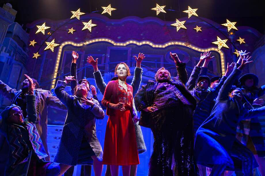 """Samantha Barks, front center,  in the title role, with the acting  ensemble  in Berkeley Rep's """"Amelie, A New Musical""""  NOTE: Amelie takes accent / over the first e Photo: Kevinberne.com"""
