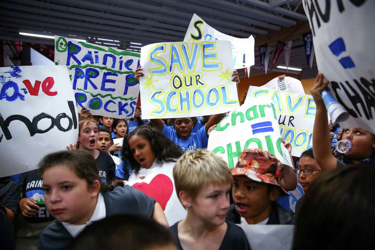 Hundreds of students rally at Summit Sierra public charter school in Seattle's International District. Charter school students, parents and staff rallied to support the schools and to call for Governor Jay Inlsee and the legislature to show their support. Photographed on Thursday, September 10, 2015.