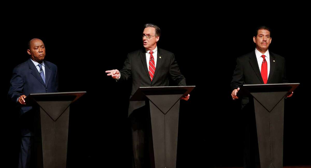 Mayoral candidates Sylvester Turner, Steve Costello, and Adrian Garcia on stage during the Houston Mayoral debate at the Hobby Center on Thursday, Sept. 10, 2015.