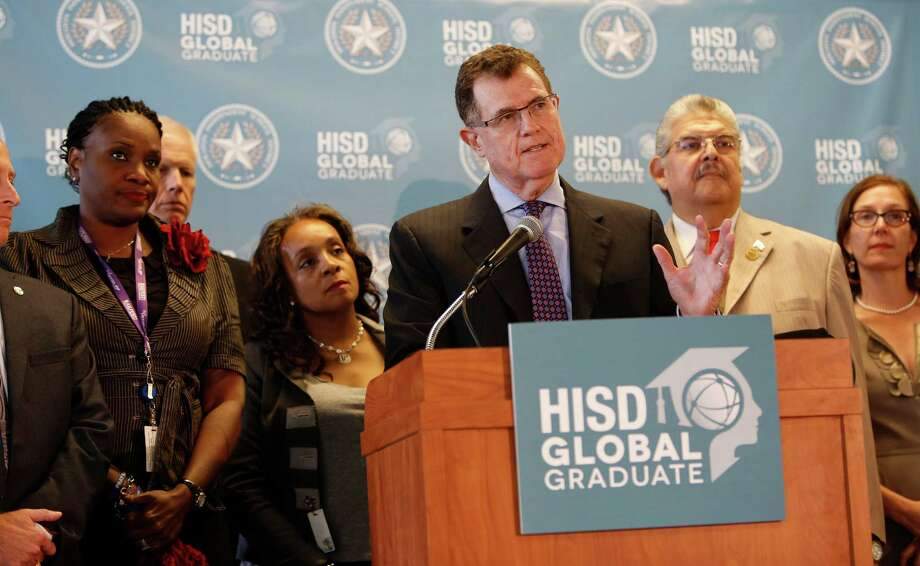 "Houston ISD Superintendent Terry Grier announced Thursday, Sept. 10, 2015, in Houston that he is stepping down effective on  March 1. Grier became superintendent of Houston in 2009, leading the nation's seventh largest school district to win the Broad Prize for Urban Education in 2013. ""You can't be school superintendent in Houston forever,"" Grier said, citing his age and recent knee replacement. ""It's just time and that's it in a nutshell."" ( Steve Gonzales / Houston Chronicle ) Photo: Steve Gonzales, Staff / © 2015 Houston Chronicle"