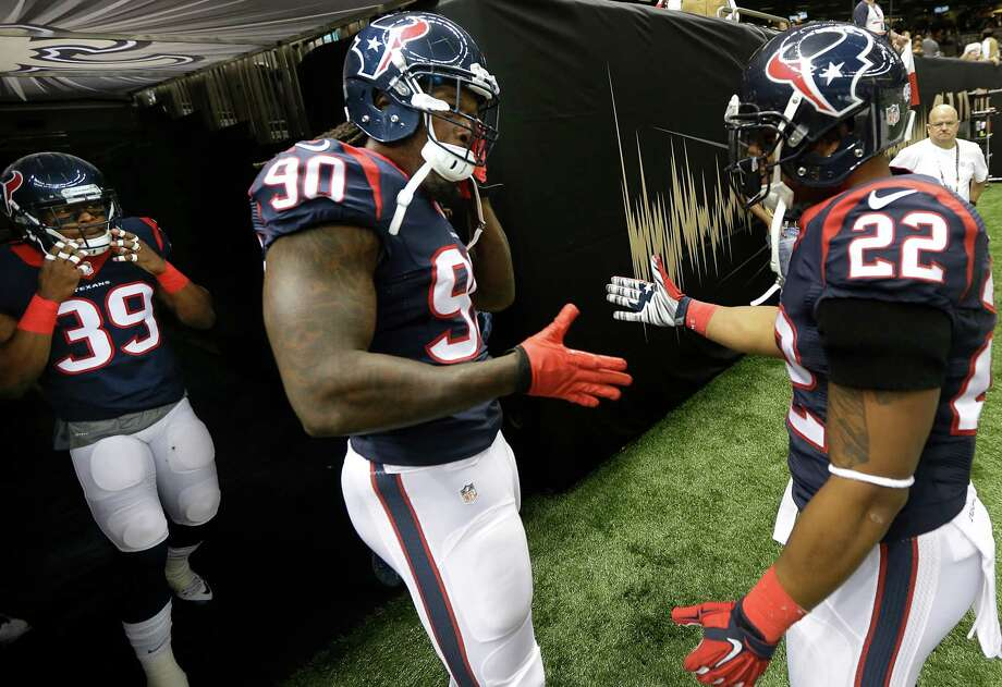Second-year Texans outside linebacker Jadeveon Clowney (90) will hit the field Sunday against the Chiefs for his first regular-season action since undergoing microfracture surgery nine months ago. Photo: Brett Coomer, Staff / © 2015  Houston Chronicle