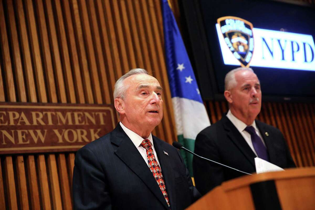 NEW YORK, NY - SEPTEMBER 10: New York Police Department Commissioner William J. Bratton speaks at a news conference on the mistaken arrest of James Blake, a retired top-10 professional tennis player on September 10, 2015 in New York City. Blake, who is black, has said he was slammed to the ground outside his hotel in Midtown Manhattan while waiting to go to the U.S. Open tennis tournament on Wednesday. Bratton has apoligized for the incident and an investigation is continuing. (Photo by Spencer Platt/Getty Images)