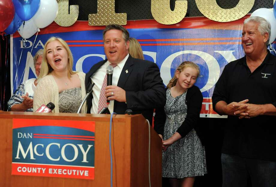 Albany County executive Dan McCoy introduces his daughter Egan McCoy as he claims victory in his democratic primary over Dan Egan at Martel's Restaurant on Thursday Sept. 10, 2015 in Albany, N.Y.  (Michael P. Farrell/Times Union) Photo: Michael P. Farrell / 00033297A