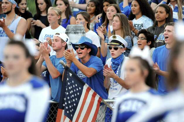 Shaker's student section cheers for their team during their football game against Christian Brothers Academy on Friday, Sept. 4, 2015, Shaker High in Latham, N.Y. (Cindy Schultz / Times Union) Photo: Cindy Schultz / 00033230A