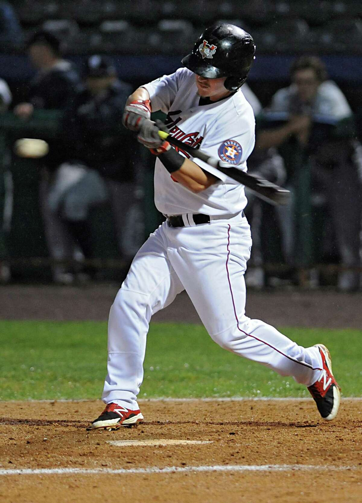 Tri-City ValleyCats' Brooks Marlow swings for the ball during a baseball game against the Staten Island Yankees at Joe Bruno Stadium on Thursday, Sept. 10, 2015 in Troy, N.Y. Tonight was Game 2 of the New York-Penn League semifinals. (Lori Van Buren / Times Union)