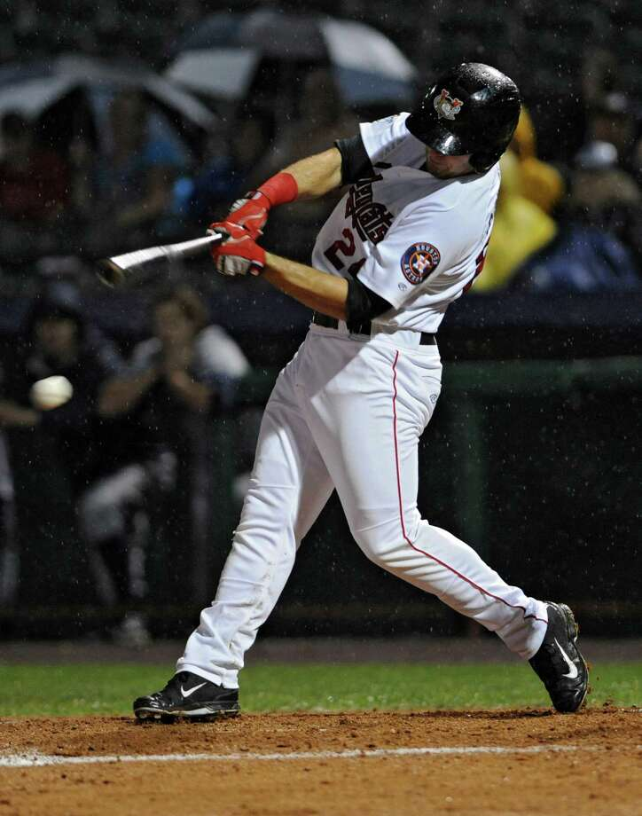 Tri-City ValleyCats' Pat Porter swings for the ball during a baseball game against the Staten Island Yankees at Joe Bruno Stadium on Thursday, Sept. 10, 2015 in Troy, N.Y. Tonight was Game 2 of the New York-Penn League semifinals. (Lori Van Buren / Times Union) Photo: Lori Van Buren / 00033253A