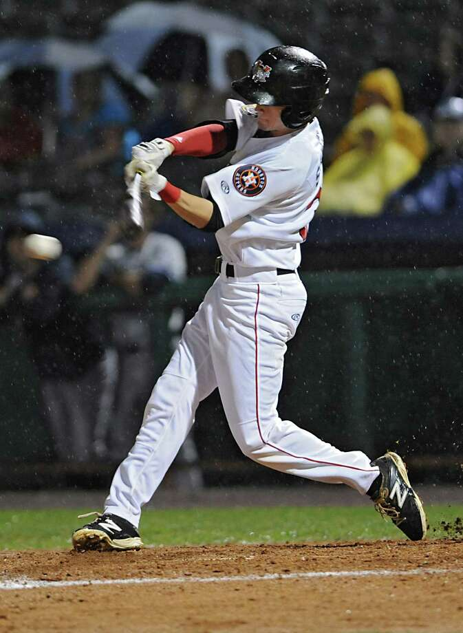 Tri-City ValleyCats' Johnny Sewald swings for the ball during a baseball game against the Staten Island Yankees at Joe Bruno Stadium on Thursday, Sept. 10, 2015 in Troy, N.Y. Tonight was Game 2 of the New York-Penn League semifinals. (Lori Van Buren / Times Union) Photo: Lori Van Buren / 00033253A