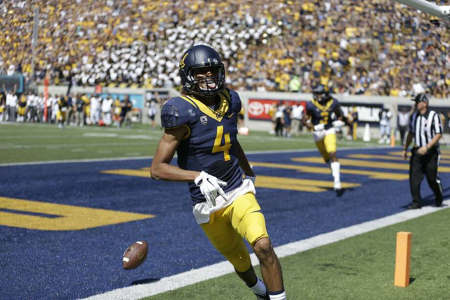 Cal wide receiver Kenny Lawler celebrates after one of his three first-half touchdowns Saturday against Grambling State. Photo: Ben Margot, Associated Press