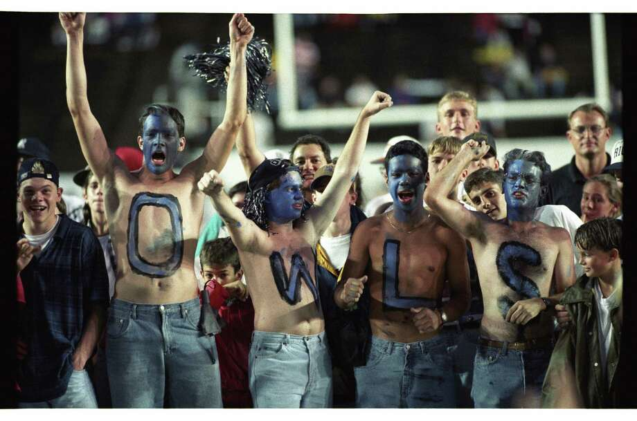 10/16/1994  Rice University vs UT - Longhorns:  HOUCHRON Caption (10/17/1994):  Rice University fans, Kristof Richmond, Steve Gauvrain, Miguel Castillo and Thomas Reed spell out their sympathies and show their true colors with blue-painted faces at Rice Stadium. Photo: Howard Castleberry, Staff / Houston Chronicle