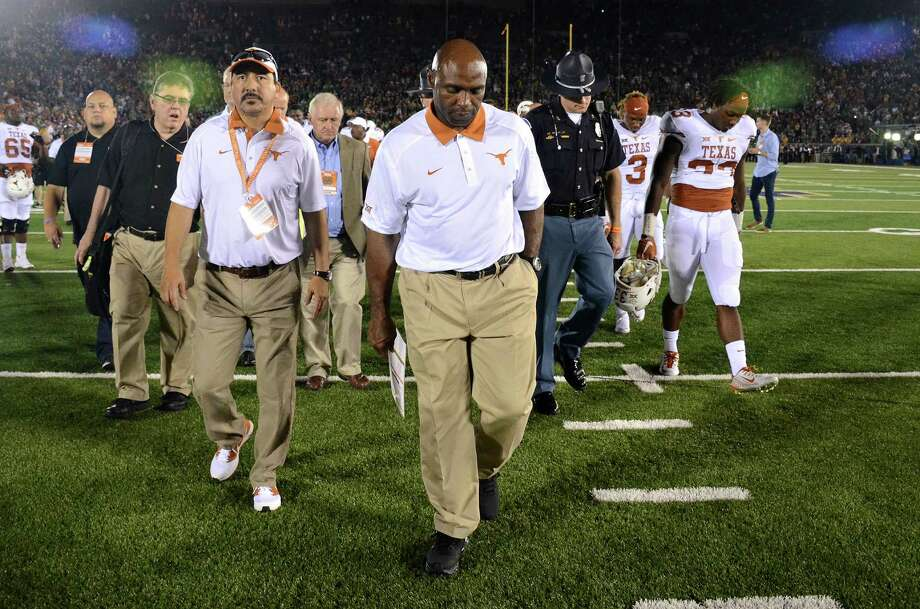 To walk off the field a winner against California tonight, Texas coach Charlie Strong knows his defense must step it up a few notches. Photo: Amy Zhang, MBR / The Daily Texan