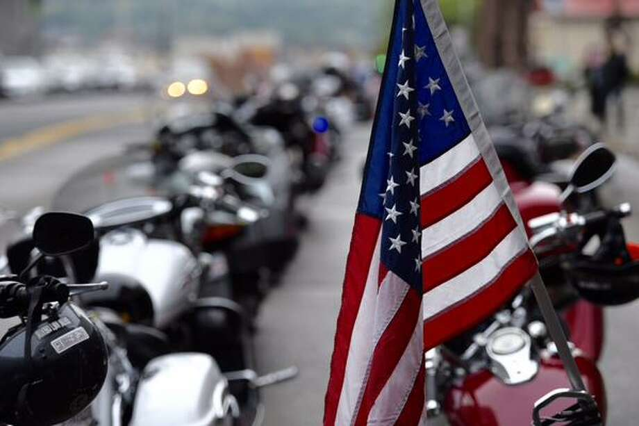 Motorcyclists prepare to leave the State Museum in Albany to ride to Ground Zero in New York City on Friday, Sept. 11, 2015. (Skip Dickstein/Times Union)
