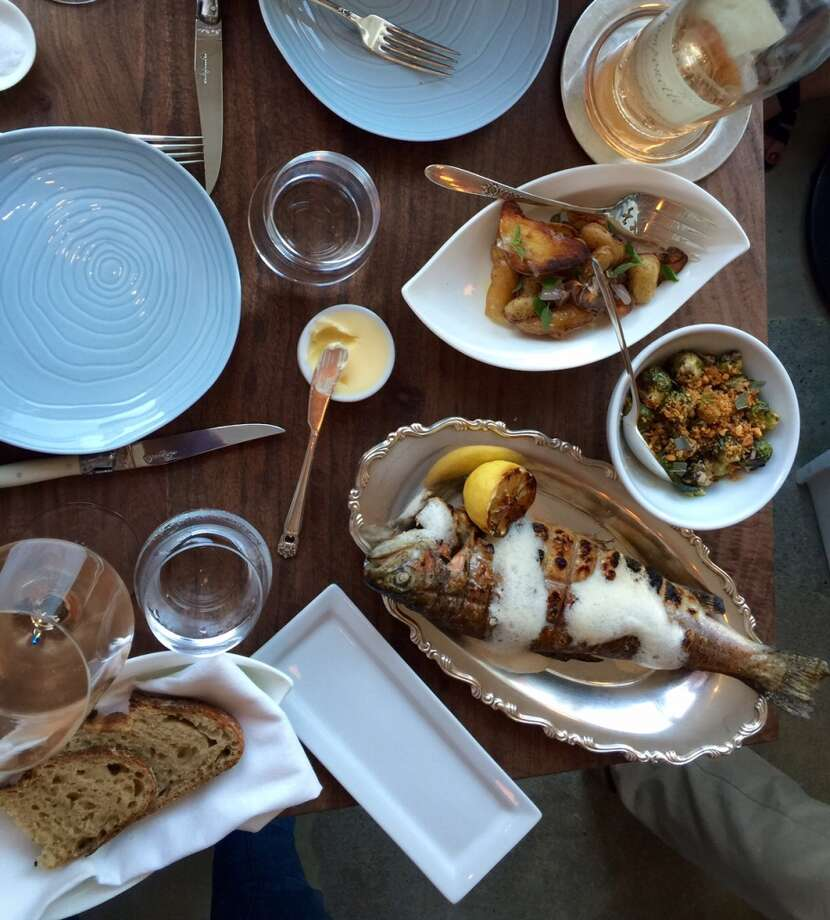 Petit Crenn: The main course on the $72 menu was a whole trout served with Brussels sprouts and roasted potatoes.