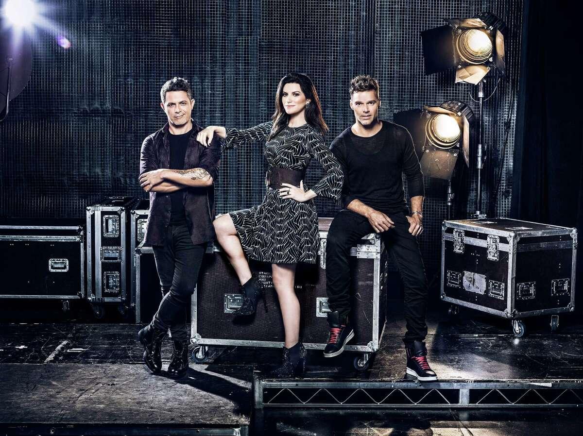 La Banda judges Alejandro Sanz, left, Laura Pausini and Ricky Martin.