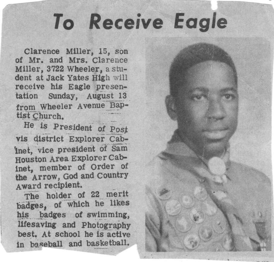 Newspaper clipping announcing Clarence Miller's Eagle Scout presentation. Miller was Troop 242's first Eagle Scout.  The impact of Troop 242 spans generations.  It is one of the most accomplished predominantly African-American Boy Scout troops in the nation and to date has produced 174 Eagle Scouts, one of the largest number African- American Eagle Scouts to come out of one troop. Photo: Courtesy Of Troop 242 / Troop 242
