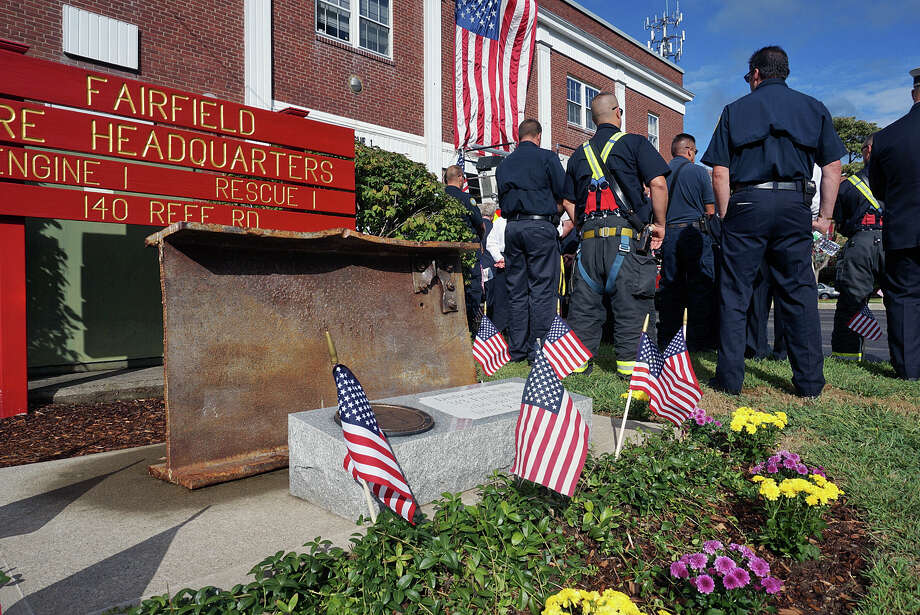 Members of the community gathered Friday for the town's annual 9/11 Remembrance Ceremony. Photo: Genevieve Reilly / Fairfield Citizen / Fairfield Citizen