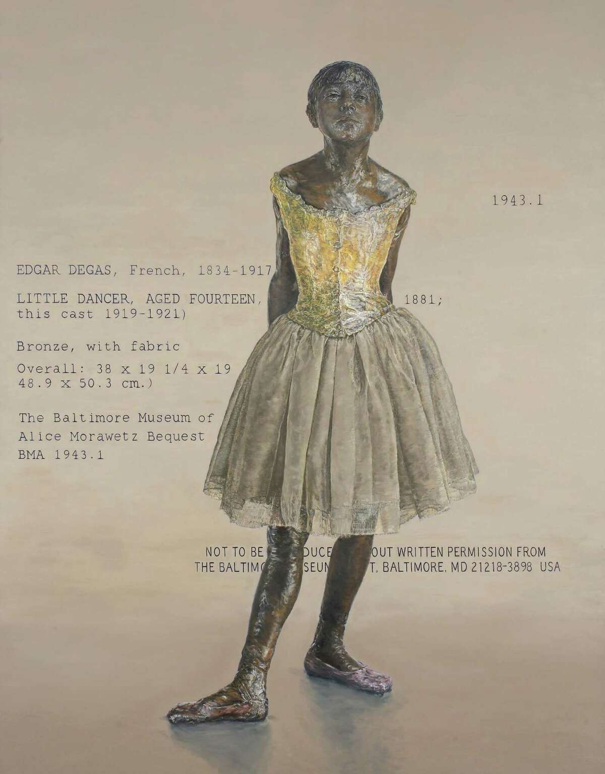 """Jane Sutherland's """"Little Dancer"""" series of paintings is inspired by Edgar Degas' great work. This painting is included in """"Dance,"""" an exhibition at Fairfield University's Quick Center."""