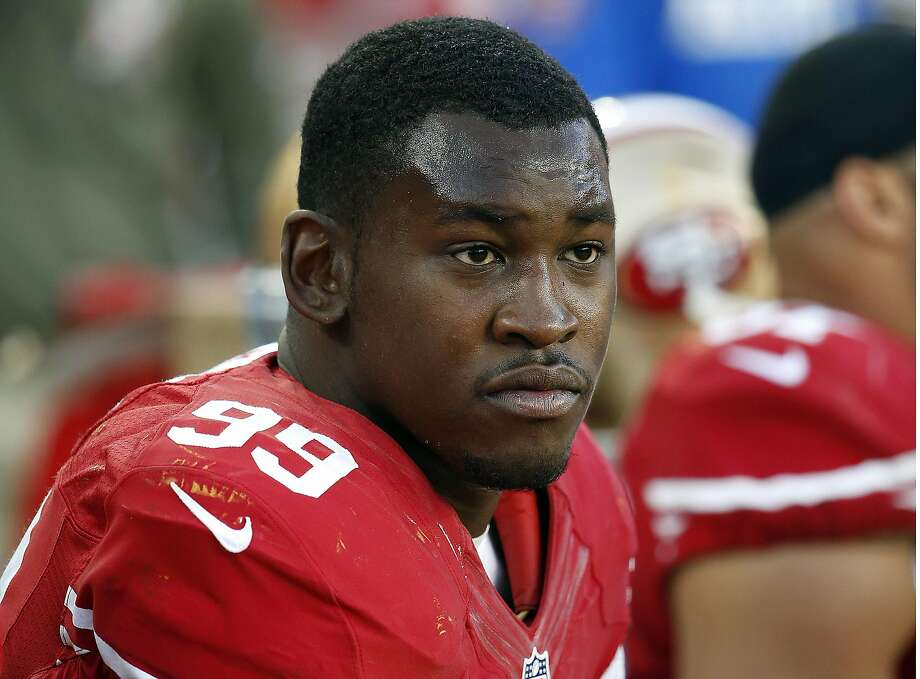 FILE - In this Nov. 23, 2014, file photo, San Francisco 49ers linebacker Aldon Smith sits on the bench during the second half of an NFL football game against the Washington Redskins in Santa Clara, Calif.  (AP Photo/Tony Avelar, File) Photo: Tony Avelar, Associated Press