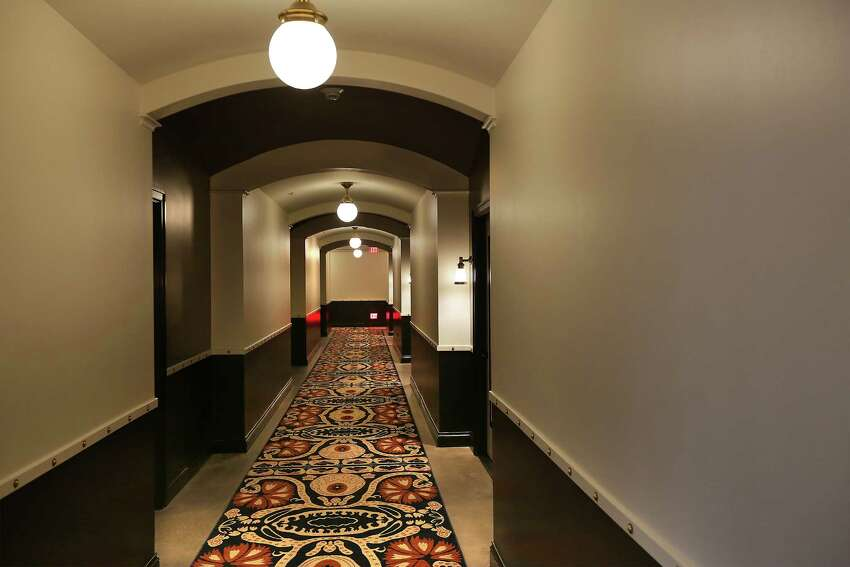 A hallway to rooms at Hotel Emma in The Pearl on Thursday, Sept. 10, 2015.