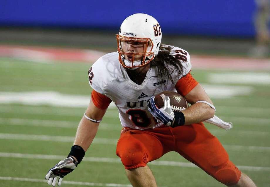 UTSA tight end David Morgan II (82) during the first half of an NCAA college football game against Arizona, Thursday, Sept. 3, 2015, in Tucson, Ariz. Photo: Rick Scuteri /Associated Press / FR157181 AP
