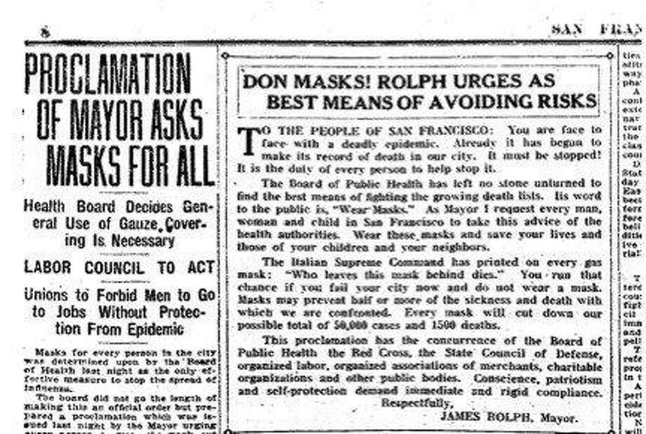 Newspapers carried stories urging the wearing of masks to prevent the spread of the flu.