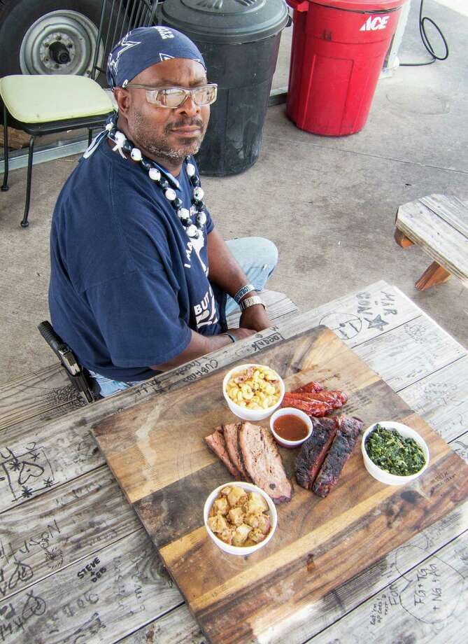 Trent Brooks serves brisket, ribs, sausage and side dishes at Brooks' Place BBQ. Photo: J.C. Reid