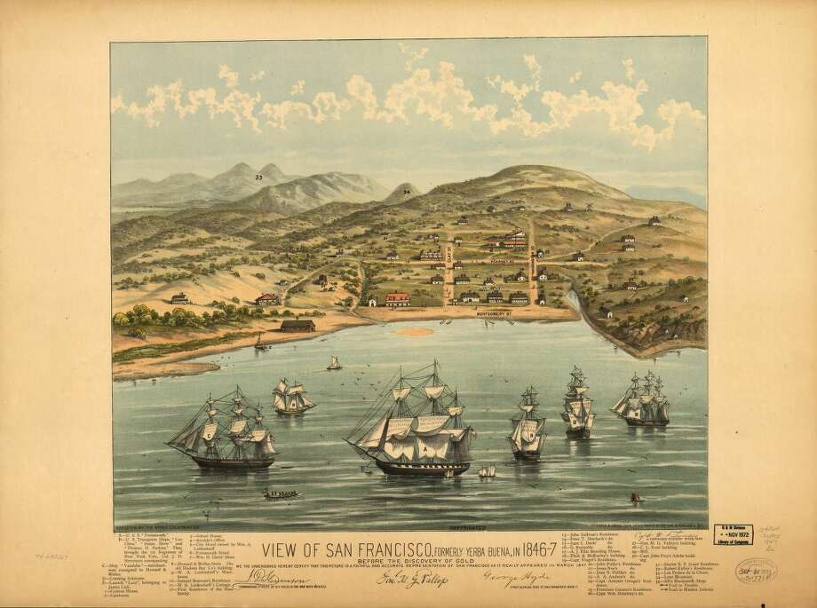 A charming birds-eye view map of San Francisco printed and distributed in 1884 depicts the area as it appeared before the discovery of gold. The only streets marked on the map are Montgomery — which runs along the waterfront — Clay, Kearney and Washington. The small collection of buildings includes a school house, a hotel and several captains' residences. Photo: Library Of Congress, Courtesy