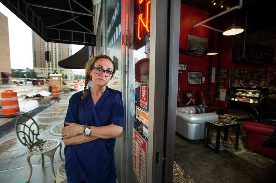 Gray Deaton, co-owner of Ben's Beans, says her coffee shop in the 1300 block of Dallas has been severely affected by construction. Photo: Brett Coomer, Staff / © 2015 Houston Chronicle