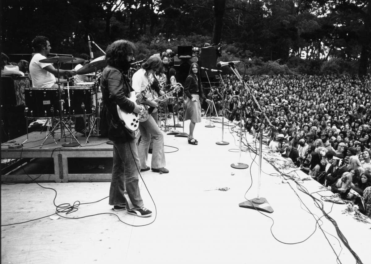 Singer Jerry Garcia performs with The Grateful Dead at Lindley Meadow in Golden Gate Park, San Francisco, California, September 28, 1975.
